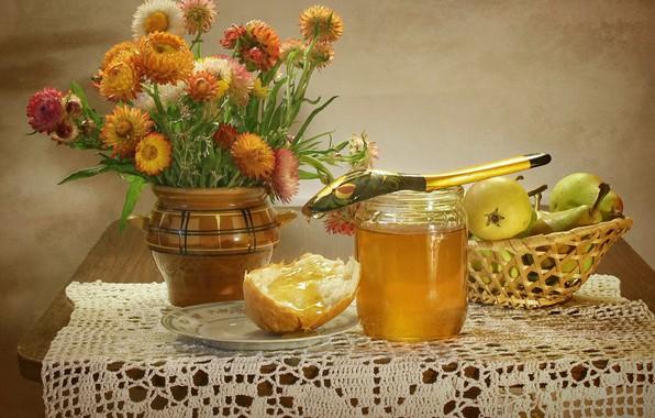 Картинка яблоки, тарелка, хлеб, ложка, банка, фрукты, натюрморт, мёд, корзинка, груши, столик, салфетка, Ковалёва Светлана, Светлана …