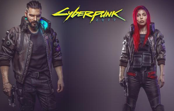 Картинка Девушка, Игра, Арт, Мужчина, Киборг, CD Projekt RED, Cyberpunk 2077, Киберпанк, Cyberpunk, Киберпанк 2077, Киборги, ...