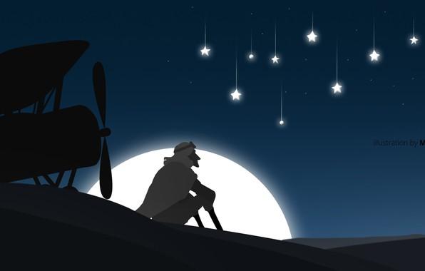 Картинка moon, desert, minimalism, Sahara, man, airplane, moonlight, artist, digital art, artwork, illustration, simple background, strars, …