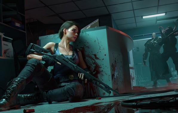 Картинка blood, Resident Evil, shotgun, Nemesis, Jill Valentine, Resident evil 3, Resident Evil 3 remake