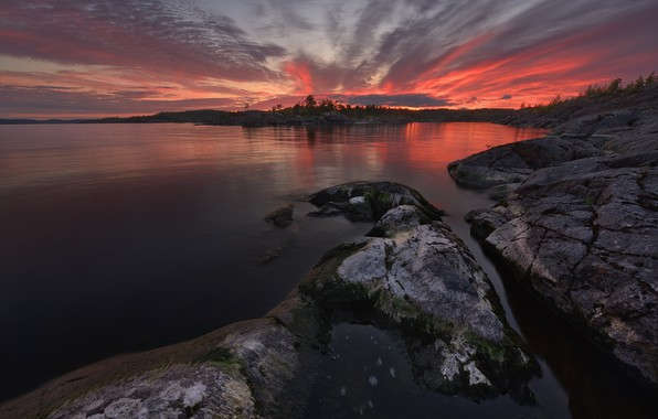 Картинка Закат, Озеро, Камень, Водное Зеркало