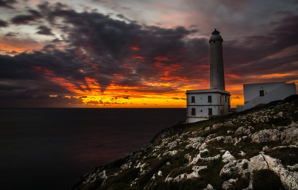 Картинка море, ночь, берег, маяк