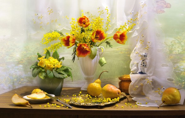 Картинка цветы, стол, тарелка, нож, тюльпаны, ваза, фрукты, натюрморт, груши, блюдо, мимоза, примула, Валентина Колова