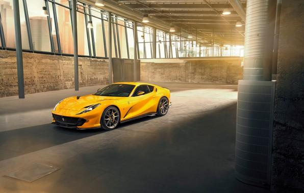 Картинка машина, фары, ангар, Ferrari, диски, спортивный, Superfast, 812, by Novitec