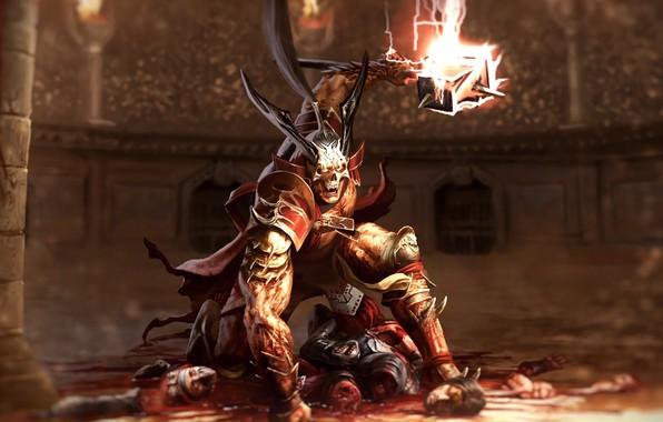 Картинка кровь, молот, колизей, трупы, император, hammer, Shao Kahn, Шао Кан, emperor, Mortal Kombat 11, Смертельная …