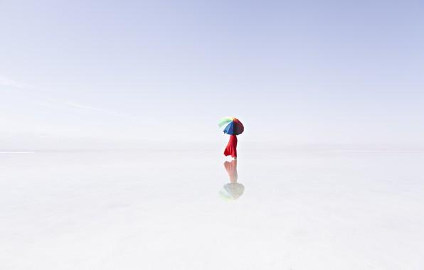 Картинка туман, озеро, отражение, зонт, umbrella, lake, fog, reflection, Prasad Ambati