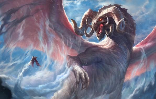 Картинка взгляд, дракон, крылья, мощь, фэнтези, арт, рога
