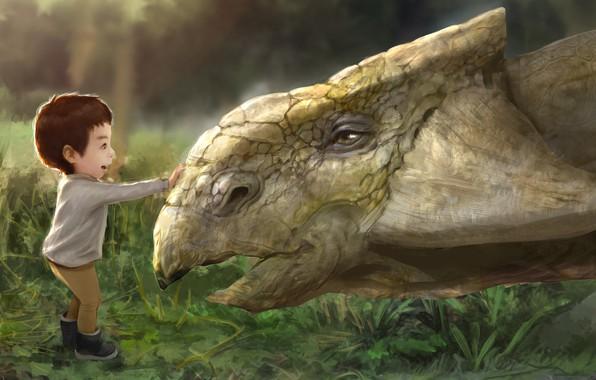 Картинка малыш, арт, детская, My son meet the ankylosaurus., ружба, Hotduck Yoon