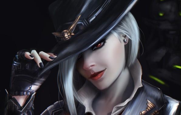 Картинка взгляд, девушка, лицо, волосы, шляпа, арт, перчатка, ashe, overwatch, Calamity, Elizabeth Caledonia Ashe