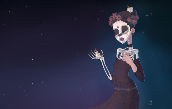 Картинка Fantasy, Арт, Скелет, Characters, Свечка, Santa Muerte, Святая Смерть, Санта Муэрте, by Sophie Maleval, Sophie …