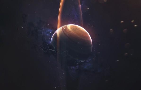 Картинка Звезды, Планета, Космос, Туманность, Молнии, Кольцо, Арт, Stars, Space, Art, Planet, Universe, Galaxy, Lightning, Nebula, …