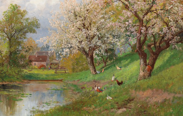 Картинка Alois Arnegger, Austrian painter, австрийский живописец, oil on canvas, Алоис Арнеггер, Spring in the Country, …