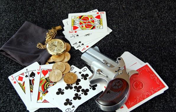 Картинка карты, пистолет, деньги