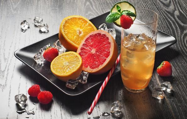 Картинка стакан, малина, апельсин, грейпфрут, лимонад