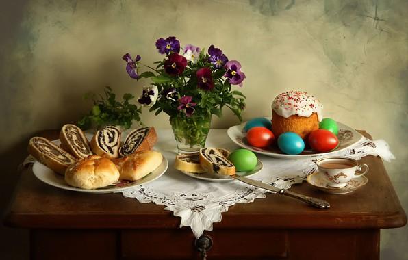 Картинка праздник, яйца, Пасха, натюрморт