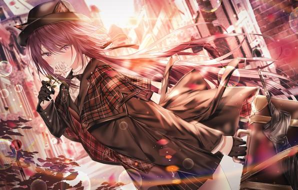 Картинка зонт, девочка, перчатки, плащ, длинные волосы, галстук бабочка, чемоданчик, белая роза, кошачьи ушки, городская улица, …