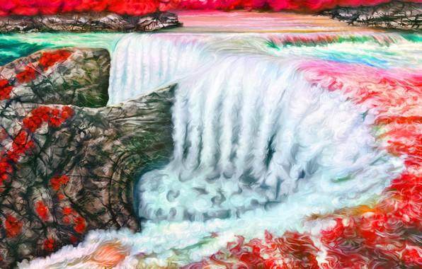 Картинка пейзаж, арт, Nina Vels, водопат, Ruby waterfall