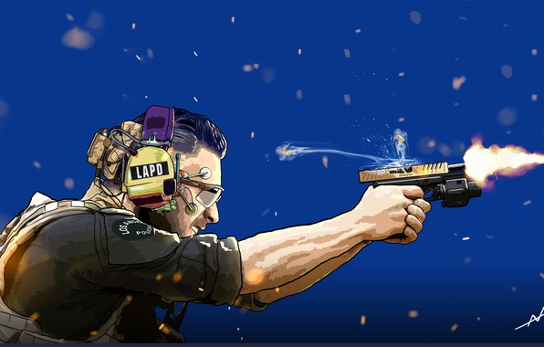 Картинка Пистолет, Art, Выстрел, Коп, Cyberpunk, Офицер, LAPD, Officer Perry, Andrea Abrile, by Andrea Abrile