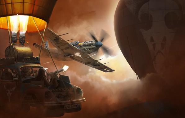 Картинка машина, самолет, воздушный шар, оружие, череп, арт, обстрел