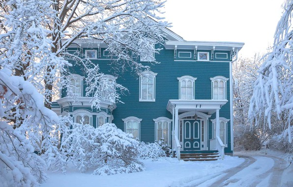 Картинка зима, дорога, снег, деревья, пейзаж, природа, дом, Антонина Яновска
