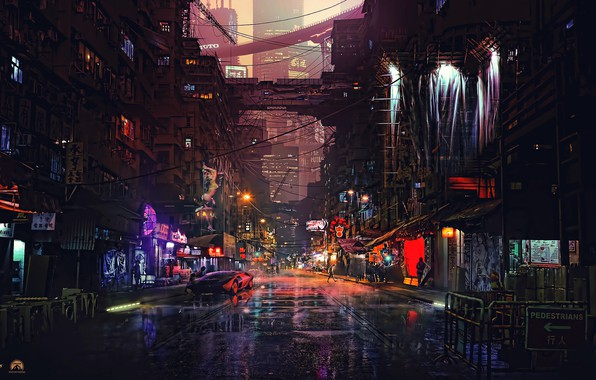 Картинка Город, Будущее, Неон, Машина, Улица, Люди, Квартал, Здания, Фантастика, Лужи, Cyber