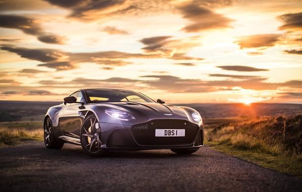 Картинка Aston Martin, Закат, Небо, DBS, Superleggera