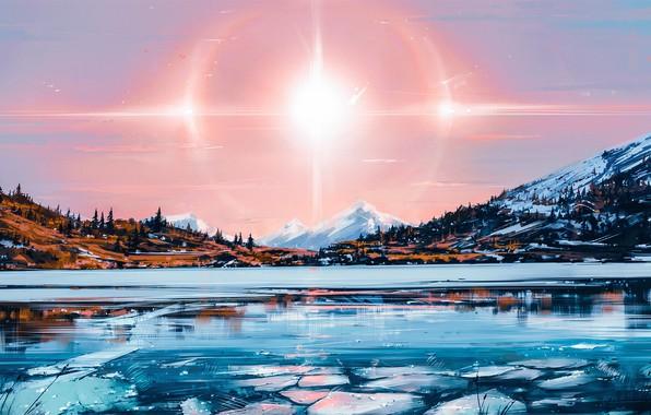 Картинка Солнце, Природа, Рисунок, Озеро, Свет, Solar, Aenami, by Aenami, Alena Aenami, by Alena Aenami, Aenami …