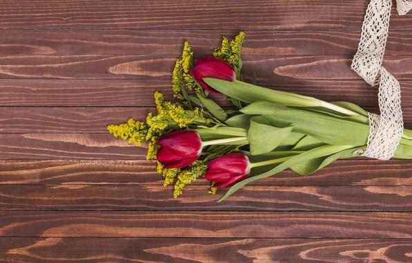 Картинка цветы, букет, тюльпаны, красные, red, wood, flowers, tulips, spring