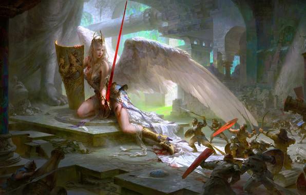 Картинка кровь, разрушения, меч, нападение, храм, битва, сражение, щит, ранена, статуи, пики, войско, белые крылья, Guangjian …