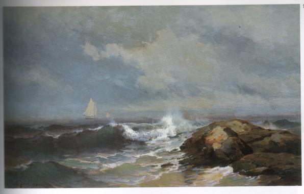 Картинка море, волны, камни, корабль, парус, HAAS