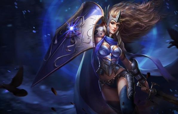 Картинка dark, girl, sword, fantasy, armor, weapon, Warrior, blue eyes, birds, digital art, artwork, shield, fantasy …