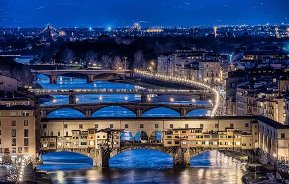 Картинка city lights, Florence, long exposure