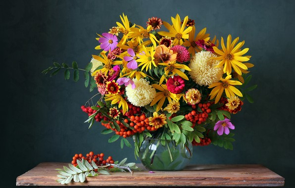 Картинка осень, цветы, ягоды, букет, colorful, натюрморт, flowers, autumn, still life, bouquet