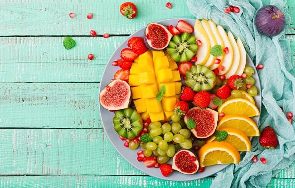 Картинка ягоды, апельсин, colorful, киви, клубника, виноград, summer, фрукты, манго, fresh, wood, sweet, strawberry, fruits, berries, ...
