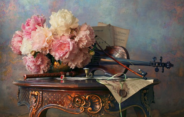 Картинка письмо, цветы, стиль, ноты, скрипка, натюрморт, смычок, пионы, дудочка, Андрей Морозов