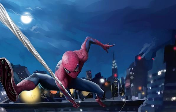 Картинка небо, ночь, город, огни, фантастика, луна, дома, паутина, арт, костюм, супергерой, комикс, Человек-паук, MARVEL, Spider-Man, …
