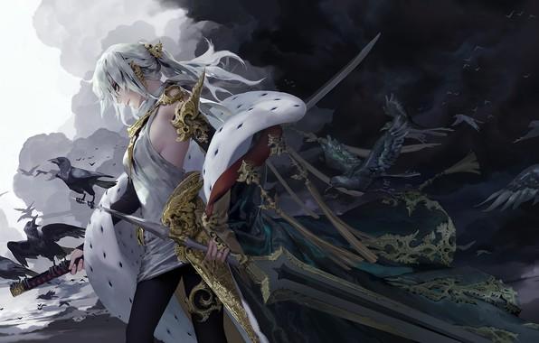 Картинка тьма, катана, демон, мантия, Carciphona, наплечник, огромный меч, черные вороны, by Shilin, Veloce Visrin