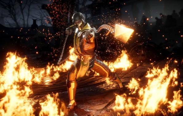 Картинка fire, game, Scorpion, ninja, fighting, get over here, MK11, screenshot, NetherRealm Studios, 2019, Mortal Kombat …