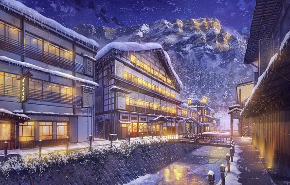 Картинка Зима, Горы, Ночь, Город, Снег, Улица, Пейзаж