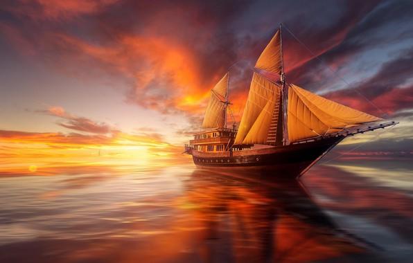 Фото обои море, закат, океан, корабль, парусник