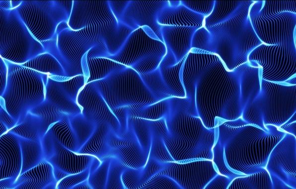 Картинка фракталы, неон, синий цвет, neon, компьютерная графика, перелив, fractals, iridescence, blue color, computer graphics, волнистая …
