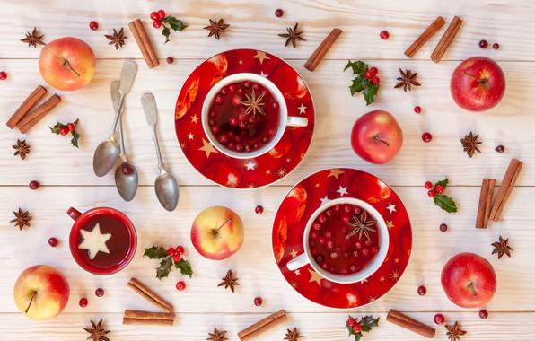 Картинка ягоды, яблоки, Рождество, фрукты, корица, Christmas, winter, cup, fruit, berries, tea, apples, decoration, cinnamon, чашка ...