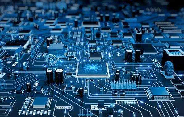 Картинка синий фон, микросхемы, платы, электронная плата