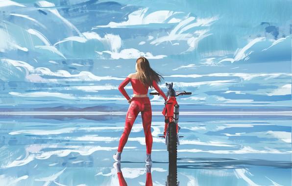 Картинка небо, вода, девушка, облака, поза, отражение, спина, арт, костюм, мотоцикл