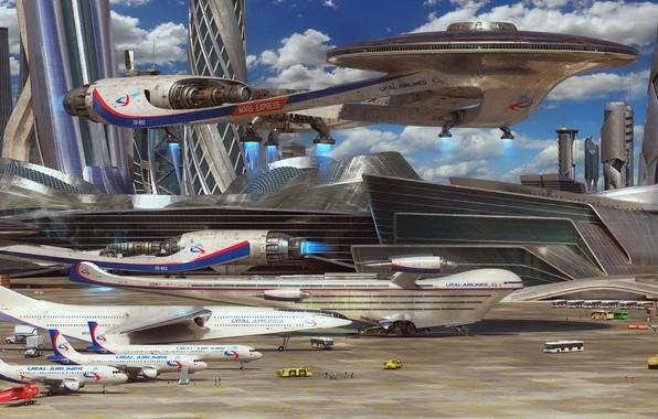 Картинка fantasy, aircraft, science fiction, spaceship, airplane, sci-fi, artist, digital art, artwork, fantasy art, vehicle, futuristic, …