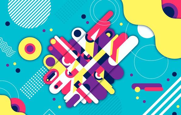Фото обои абстракция, фон, colorful, геометрия, Abstract, background, rounded, shapes, Geometric
