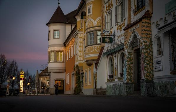 Картинка город, улица, здания, дома, утро, Австрия, Маутхаузен
