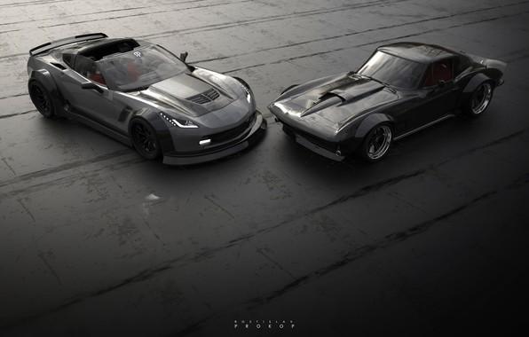 Картинка Авто, Corvette, Chevrolet, Ретро, Машина, Две, Рендеринг, Concept Art, Corvette C7, Chevrolet Corvette C7, Rostislav ...