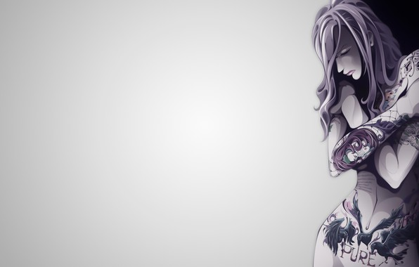 Картинка vector, Girl, minimalism, body, tattoos, illustration, simple background, backgound