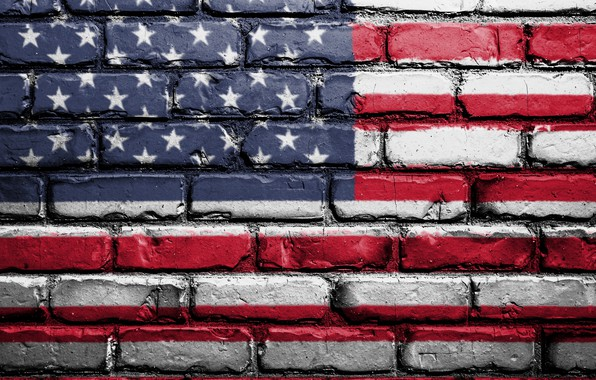 Картинка red, wall, USA, white, blue, art, textures, flag, paint, brick, America, symbolism, street art, 4k …